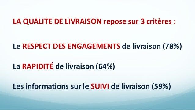 LA QUALITE DE LIVRAISON repose sur 3 critères : Le RESPECT DES ENGAGEMENTS de livraison (78%) La RAPIDITÉ de livraison (64...