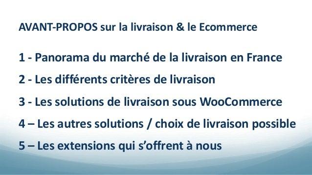 AVANT-PROPOS sur la livraison & le Ecommerce 1 - Panorama du marché de la livraison en France 2 - Les différents critères ...