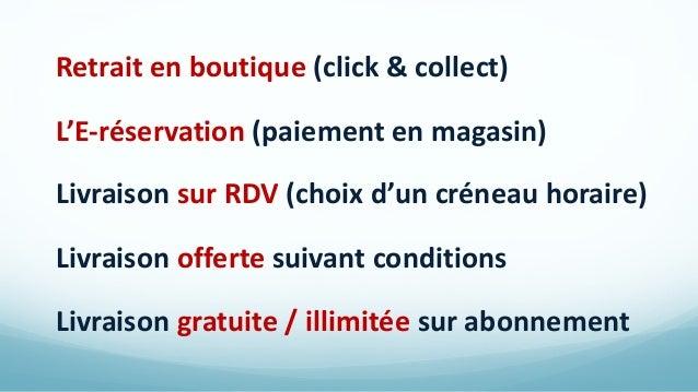 Retrait en boutique (click & collect) L'E-réservation (paiement en magasin) Livraison sur RDV (choix d'un créneau horaire)...