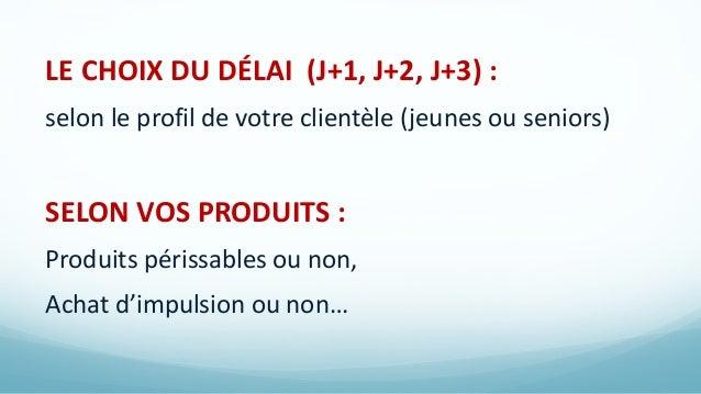 LE CHOIX DU DÉLAI (J+1, J+2, J+3) : selon le profil de votre clientèle (jeunes ou seniors) SELON VOS PRODUITS : Produits p...