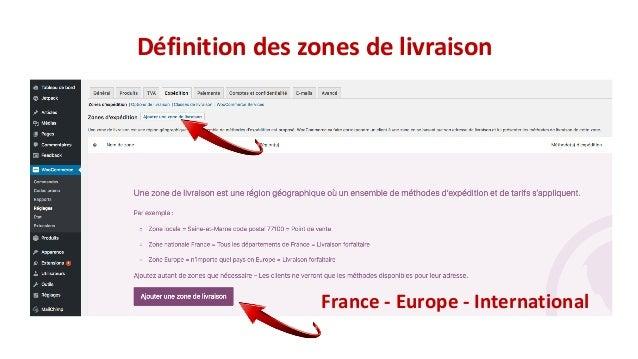 France - Europe - International Définition des zones de livraison