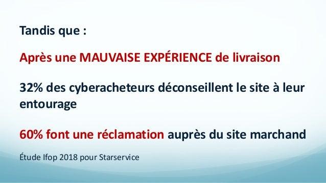 Tandis que : Après une MAUVAISE EXPÉRIENCE de livraison 32% des cyberacheteurs déconseillent le site à leur entourage 60% ...