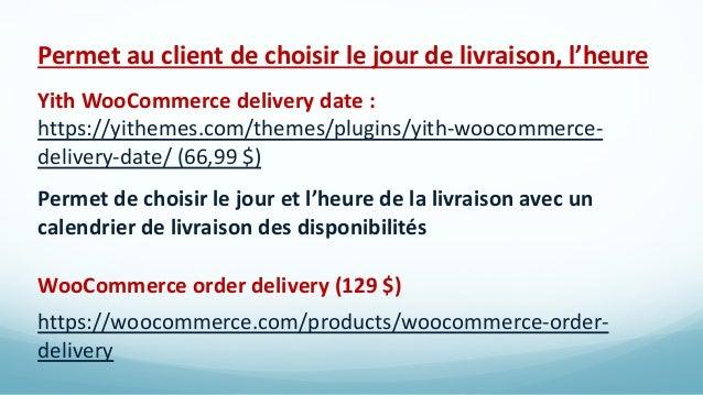 Pour paramétrer des conditions, combinaisons… WooCommerce Conditional Shipping and Payments (79 $) https://woocommerce.com...