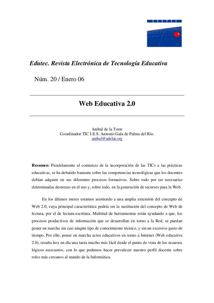 Edutec. Revista Electrónica de Tecnología Educativa Núm. 20 / Enero 06                            Web Educativa 2.0       ...