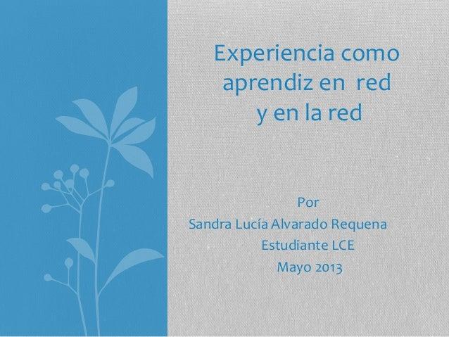 Experiencia como aprendiz en red y en la red  Por Sandra Lucía Alvarado Requena Estudiante LCE Mayo 2013