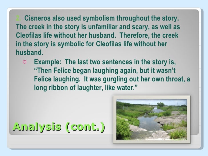 an analysis of the story of cleofilas Woman hollering creek states in the story of woman hollering creek, written by sandra cisneros, themes of domestic abuse underlie the story of a woman, cleofilas.