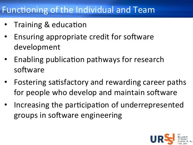FuncHoningoftheIndividualandTeam • Training&educaHon • Ensuringappropriatecreditforso+ware development •...