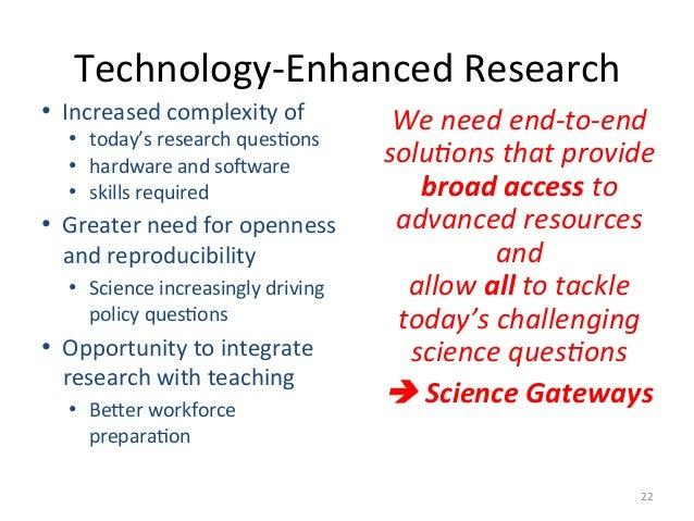 Technology-EnhancedResearch 22 • Increasedcomplexityof • today'sresearchquesHons • hardwareandso+ware • sk...