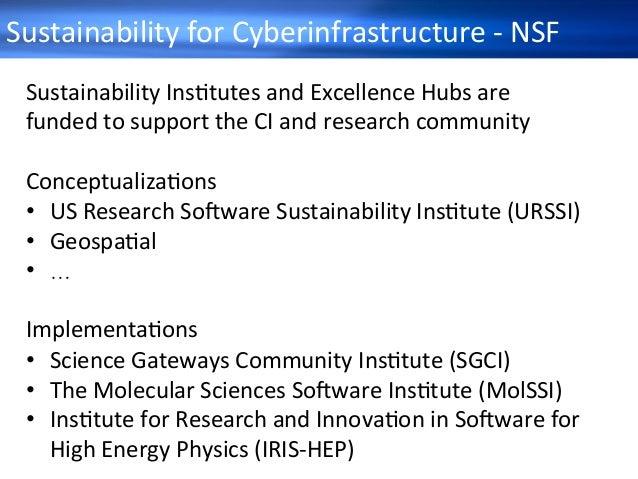 SustainabilityforCyberinfrastructure-NSF SustainabilityInsHtutesandExcellenceHubsare fundedtosupporttheCIa...