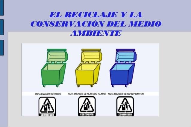 EL RECICLAJE Y LA CONSERVACIÓN DEL MEDIO AMBIENTE