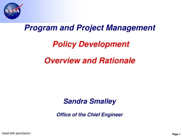Program and Project Management                        Policy Development                       Overview and Rationale     ...