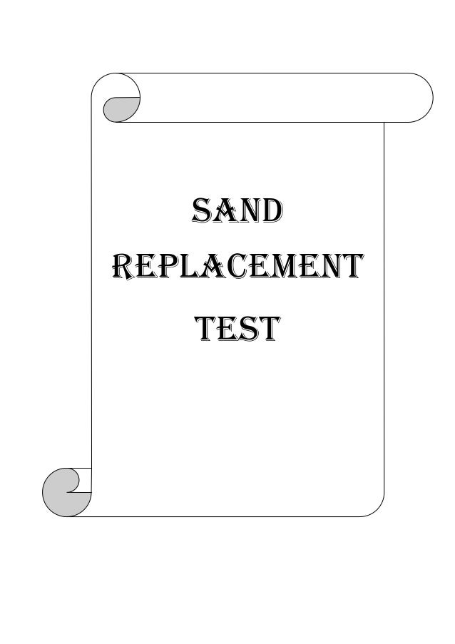 Sand replacement test