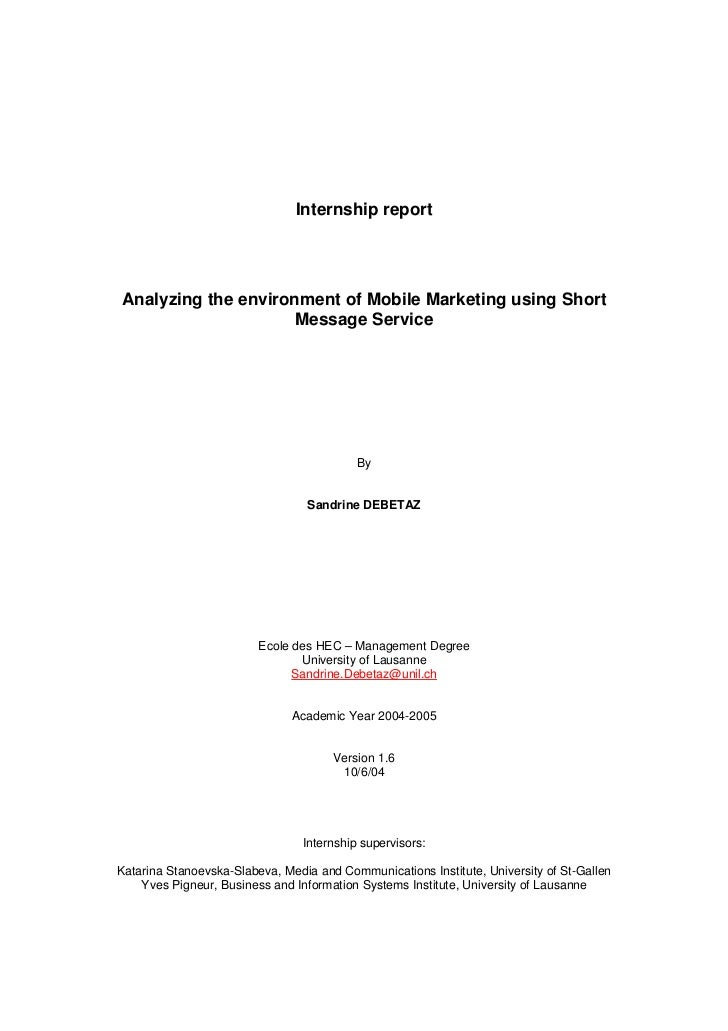 Internship reportAnalyzing the environment of Mobile Marketing using Short                     Message Service            ...