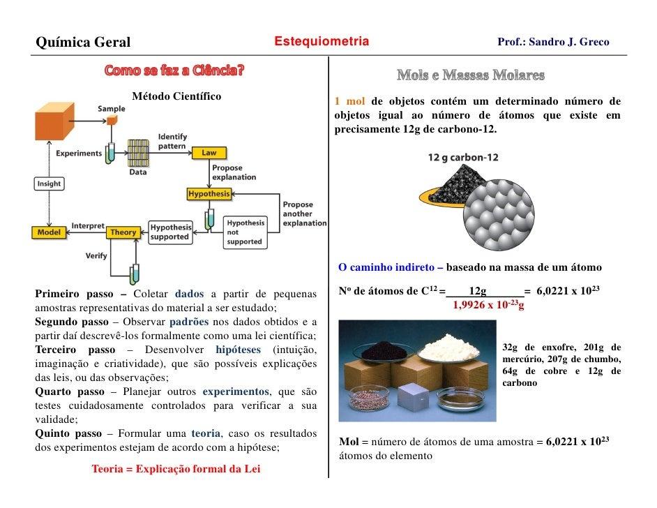 Química Geral                                     Estequiometria                                Prof.: Sandro J. Greco    ...