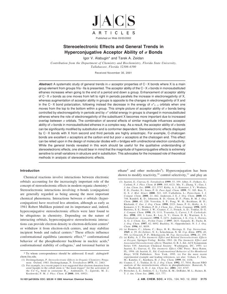 Published on Web 03/03/2002                                          Stereoelectronic Effects and General Trends in       ...