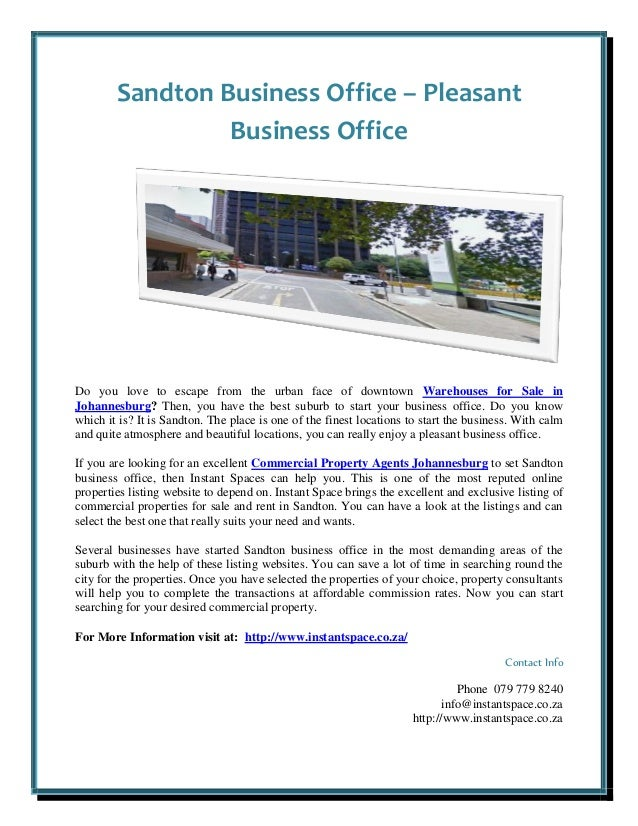 Sandton Business Office – Pleasant Business Office Do you love to escape from the urban face of downtown Warehouses for Sa...