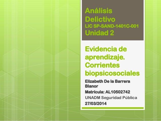 Análisis Delictivo LIC SP-SAND-1401C-001 Unidad 2 Evidencia de aprendizaje. Corrientes biopsicosociales Elizabeth De la Ba...