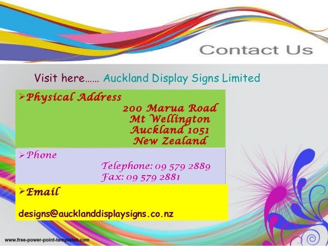 Visit here…… Auckland Display Signs Limited Physical Address 200 Marua Road Mt Wellington Auckland 1051 New Zealand Emai...