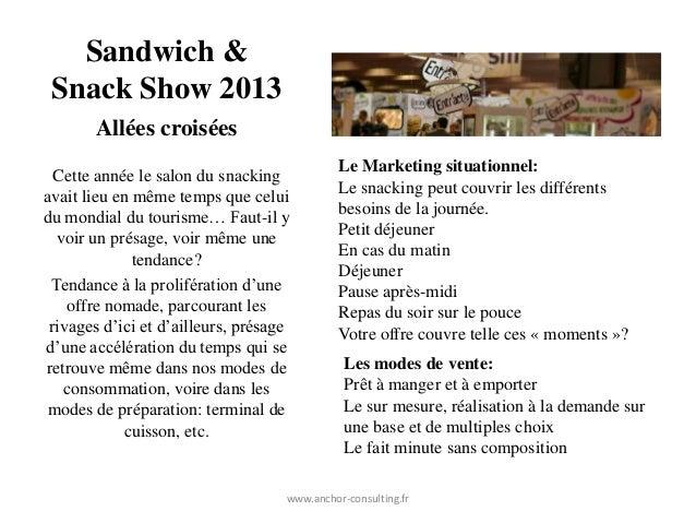 Sandwich & Snack Show 2013       Allées croisées                                              Le Marketing situationnel:  ...
