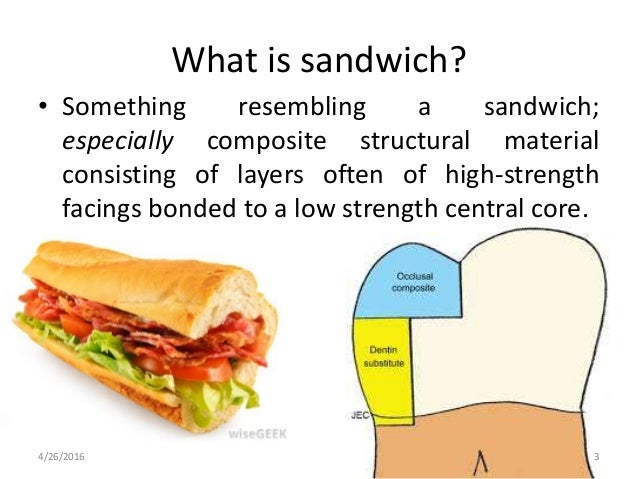 What is sandwich? • Something resembling a sandwich; especially composite structural material consisting of layers often o...