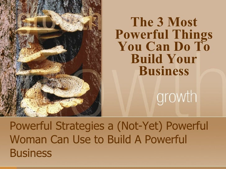 Powerful Strategies a (Not-Yet) Powerful Woman Can Use to Build A Powerful Business The 3 Most Powerful Things You Can Do ...