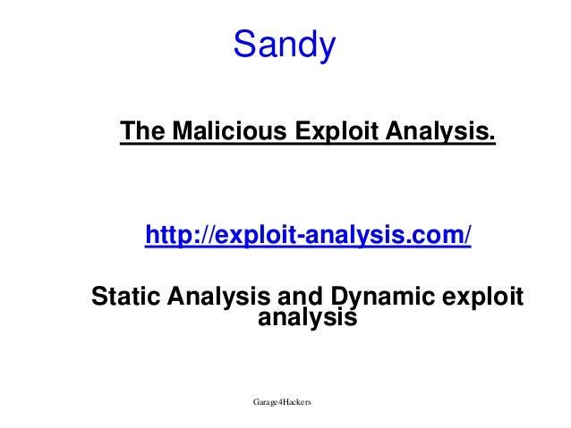Sandy The Malicious Exploit Analysis.  http://exploit-analysis.com/ Static Analysis and Dynamic exploit analysis  Garage4H...