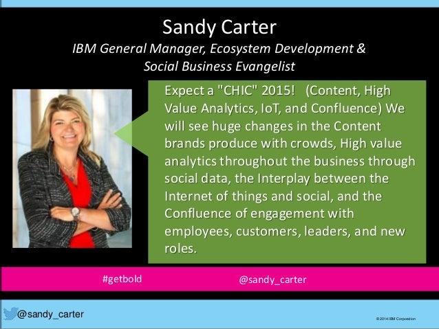 Sandy Carter IBM General Manager, Ecosystem Development & Social Business Evangelist @sandy_carter © 2014 IBM Corporation ...