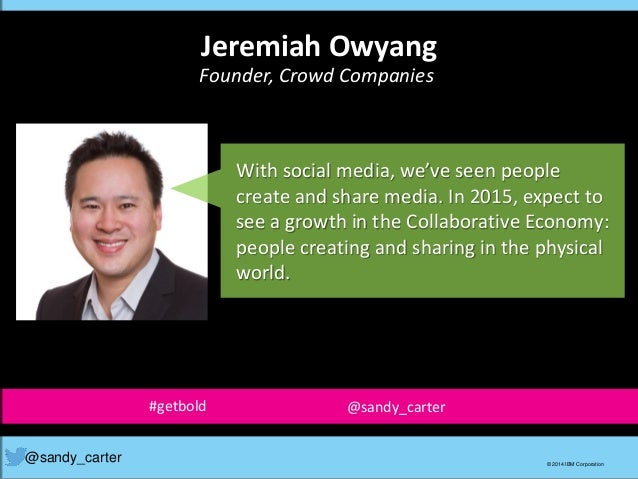 With social media, we've seen people create and share media. In 2015, expect to see a growth in the Collaborative Economy:...