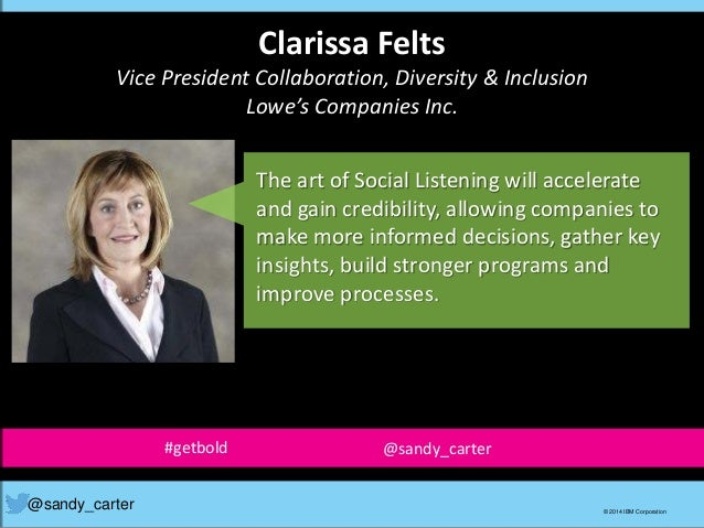 Clarissa Felts Vice President Collaboration, Diversity & Inclusion Lowe's Companies Inc. The art of Social Listening will ...