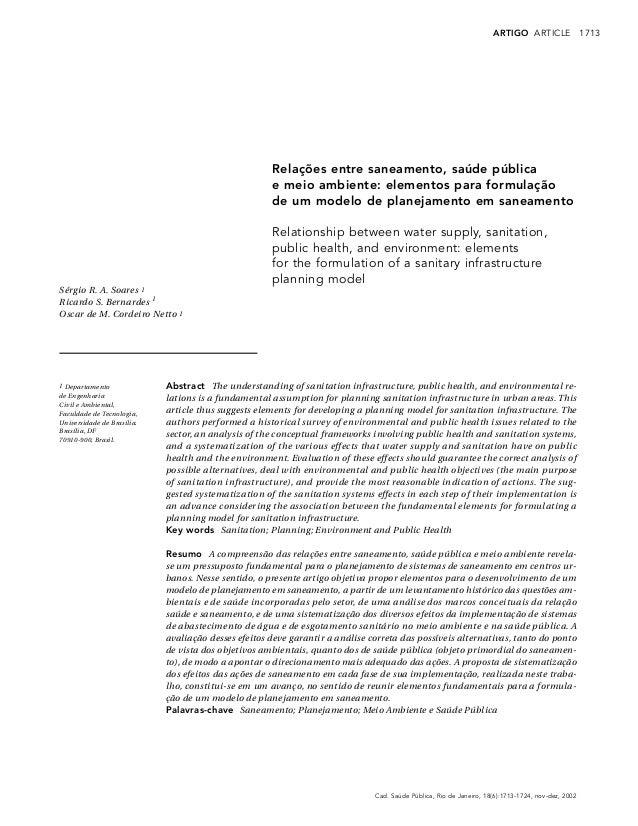 1713Cad. Saúde Pública, Rio de Janeiro, 18(6):1713-1724, nov-dez, 2002ARTIGO ARTICLERelações entre saneamento, saúde públi...