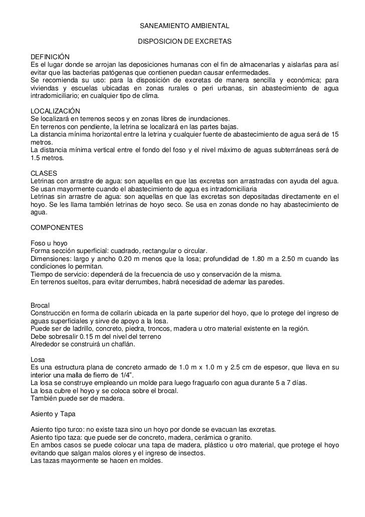 SANEAMIENTO AMBIENTAL<br />DISPOSICION DE EXCRETAS<br />DEFINICIÓN<br />Es el lugar donde se arrojan las deposiciones huma...