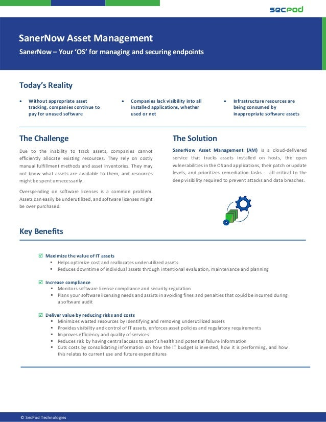 SanerNow Asset Management