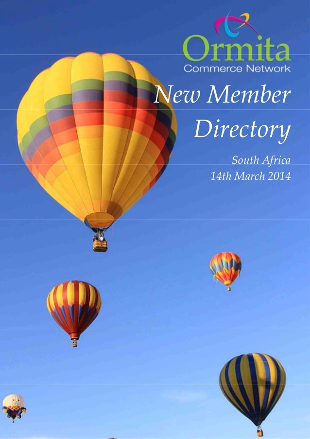 New Member Directory South Africa 14th March 2014