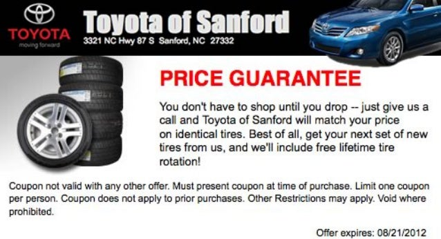 """i'ou don""t hays to shop until you drop —— just gills us a call and Toyota of Sanford will match your price  on identical ..."