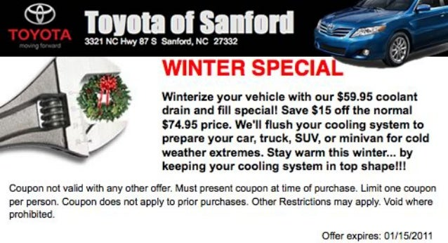 Toyota of Sanford Coolant Drain Special Raleigh NC