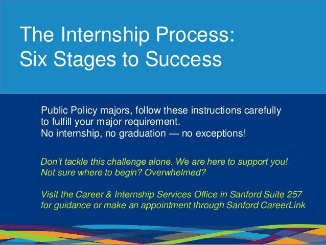 The Internship Process: Six Stages to Success Public Policy majors, follow these instructions carefully to fulfill your ma...