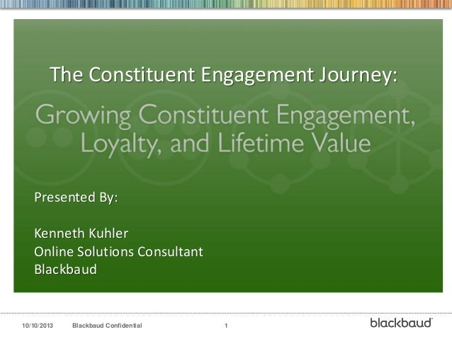 10/10/2013 Blackbaud Confidential 1 Presented By: Kenneth Kuhler Online Solutions Consultant Blackbaud The Constituent Eng...