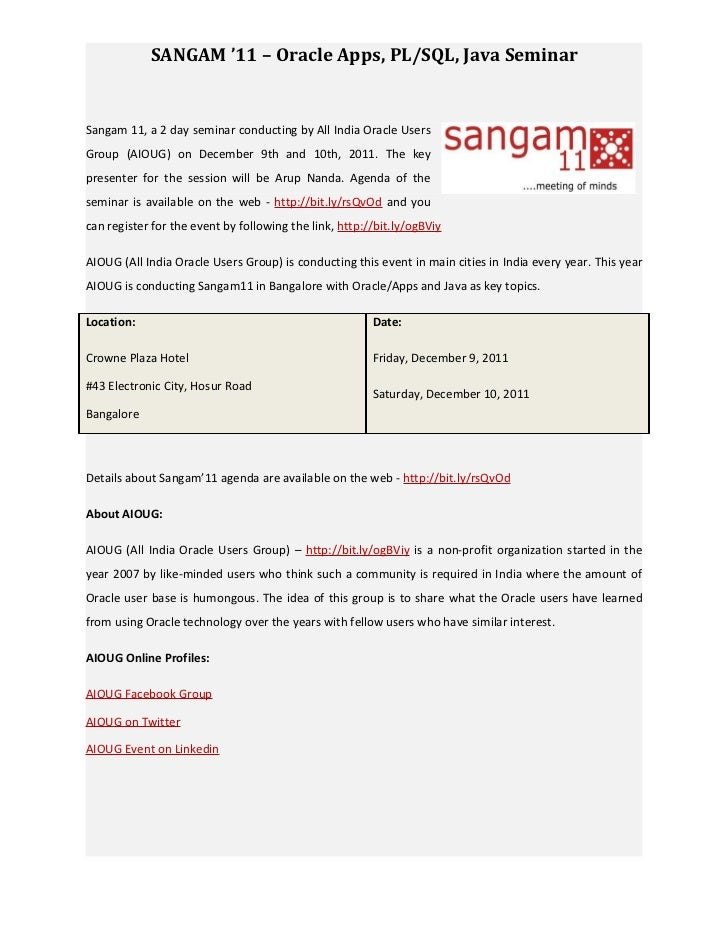 Sangam'11 - Oracle Apps, PL/SQL, Java Seminar