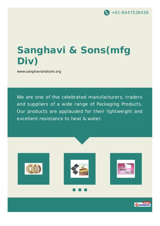 +91-8447528438 Sanghavi & Sons(mfg Div) www.sanghaviandsons.org We are one of the celebrated manufacturers, traders and su...