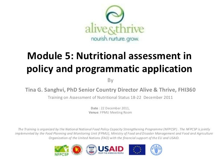 Module 5: Nutritional assessment in       policy and programmatic application                                             ...