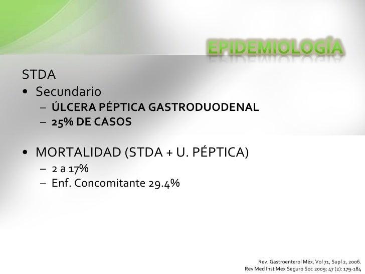 STDA<br />Secundario<br />ÚLCERA PÉPTICA GASTRODUODENAL<br />25% DE CASOS <br />MORTALIDAD (STDA + U. PÉPTICA)<br />2 a 17...