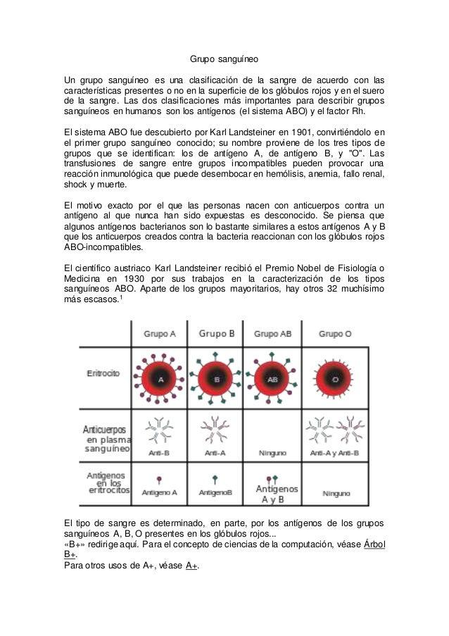 Grupo sanguíneo Un grupo sanguíneo es una clasificación de la sangre de acuerdo con las características presentes o no en ...