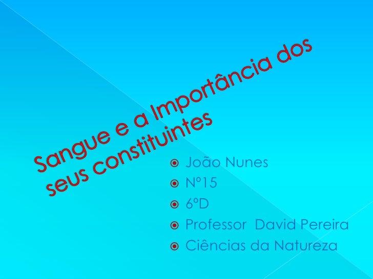    João Nunes   Nº15   6ºD   Professor David Pereira   Ciências da Natureza
