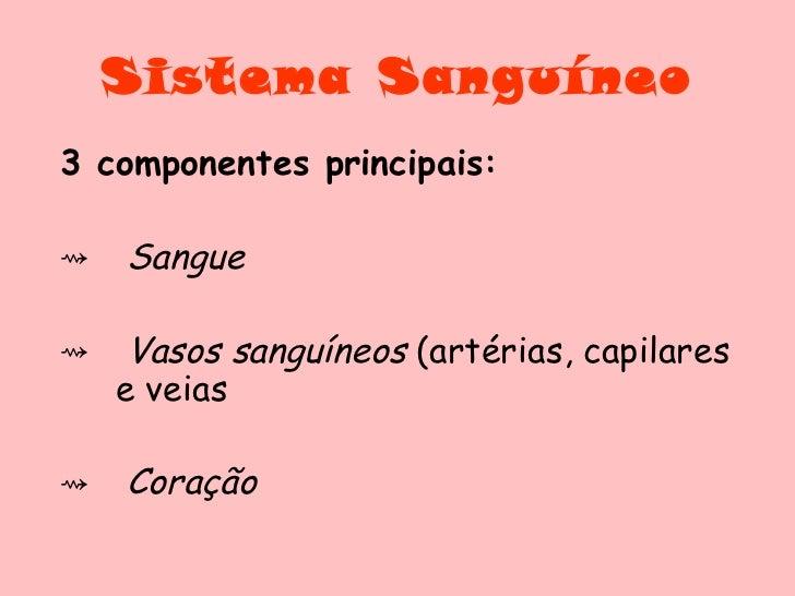 Sistema Sanguíneo <ul><li>3 componentes principais: </li></ul><ul><li>Sangue </li></ul><ul><li>Vasos sanguíneos  (artérias...