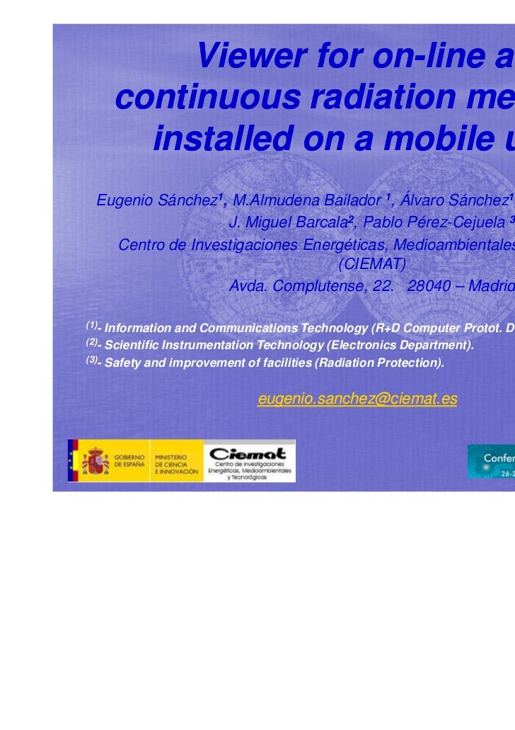 Viewer for on-line and                       on-       continuous radiation measures         installed on a mobile unit  E...