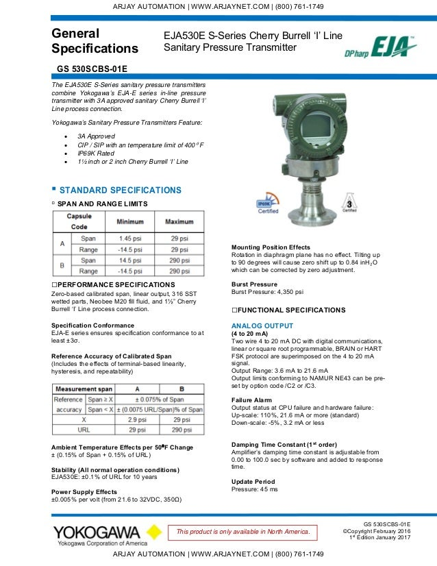 General Specifications GS 530SCBS-01E EJA530E S-Series Cherry Burrell 'I' Line Sanitary Pressure Transmitter GS 530SCBS-01...