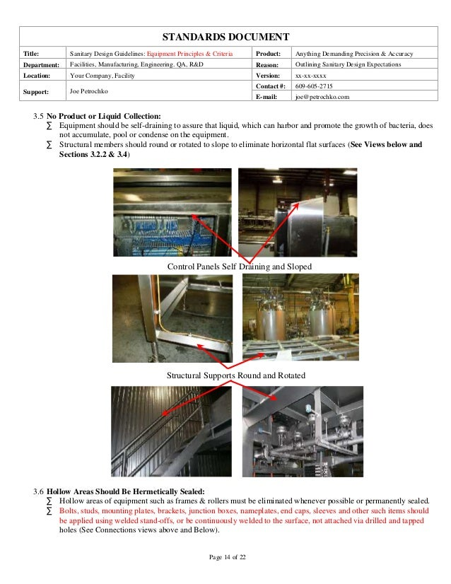 Sanitary Equipment Design Guidelines Part 1 Of 2