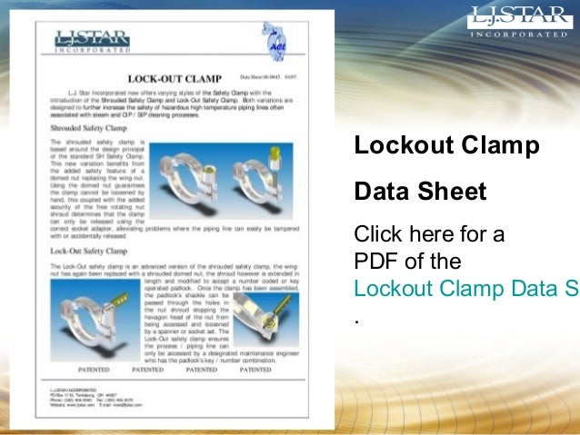 Lockout Clamp  Data Sheet  Click here for a  PDF of the  Lockout Clamp Data Sheet  .