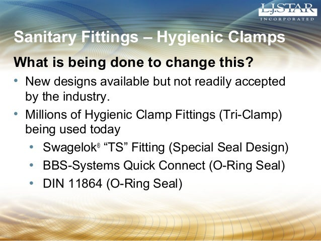 Sanitary Fittings – Hygienic Clamps  What is being done to change this?  • New designs available but not readily accepted ...