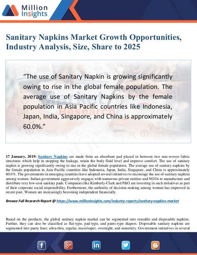 Sanitary Napkins Market: Business Opportunities, Current